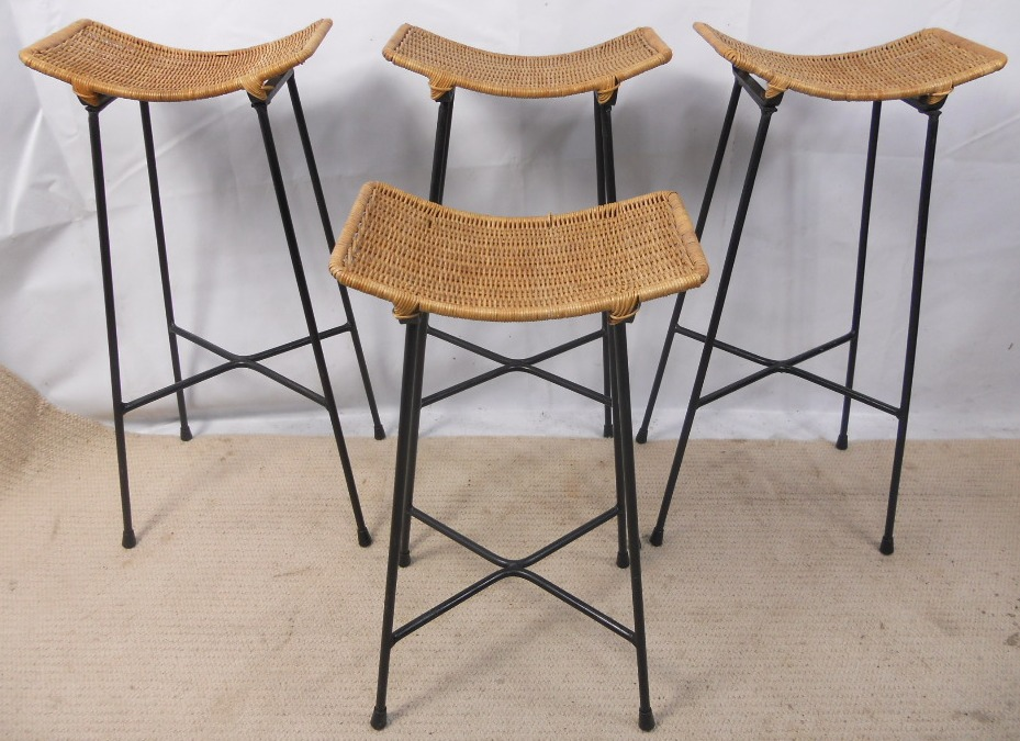 Four s Bar Stools with Cane Seats and Metal Frames